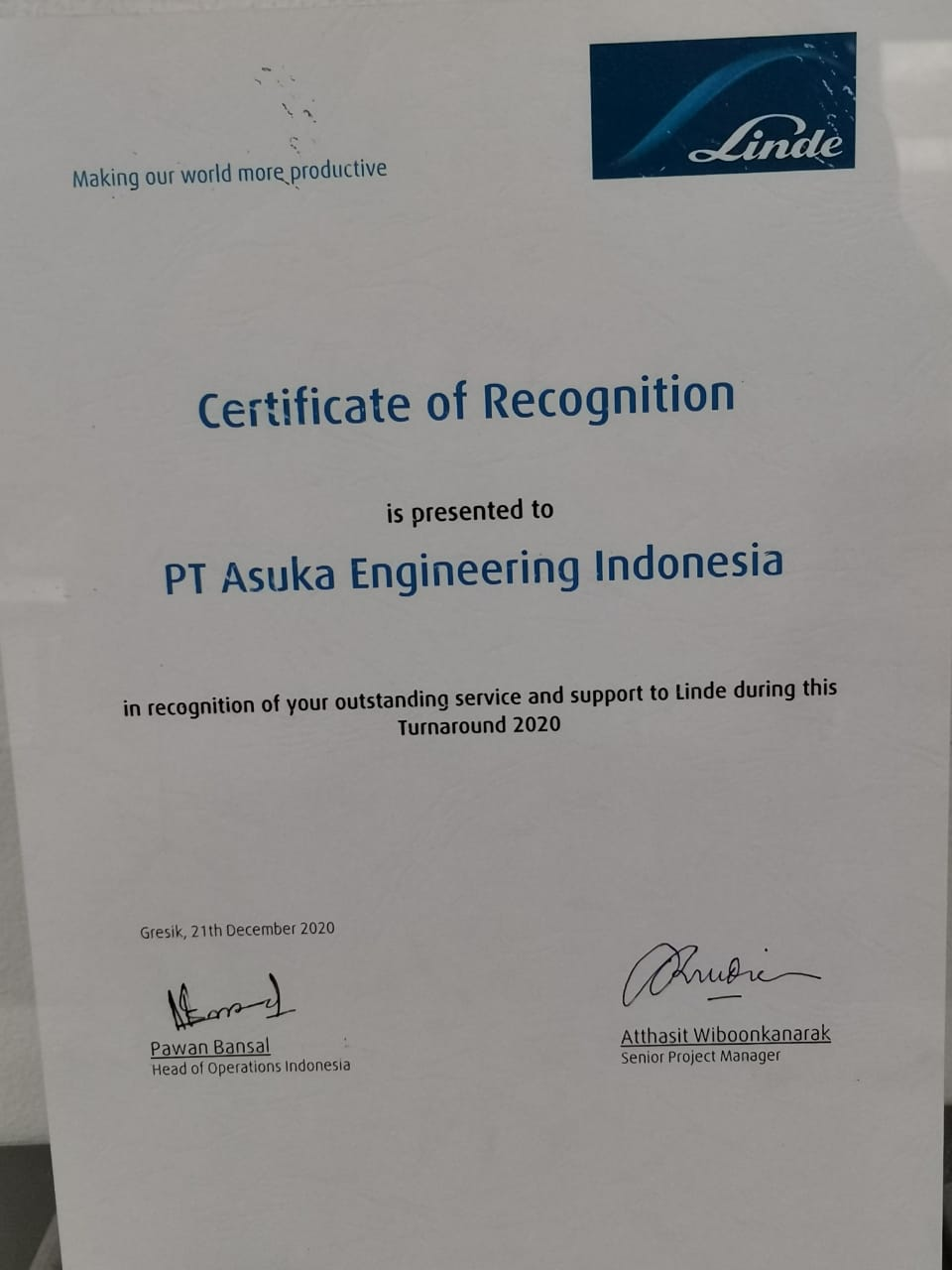 Read more about the article Asuka Engineering Indonesia, PT. in Recognition of Outstanding Service and Support to Linde Indonesia